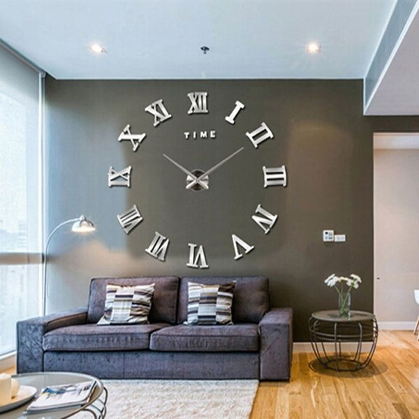 New Modern 3D Mirror Diy Large Wall Clock Surface Sticker Home In Clock Wall Accents (Image 13 of 15)