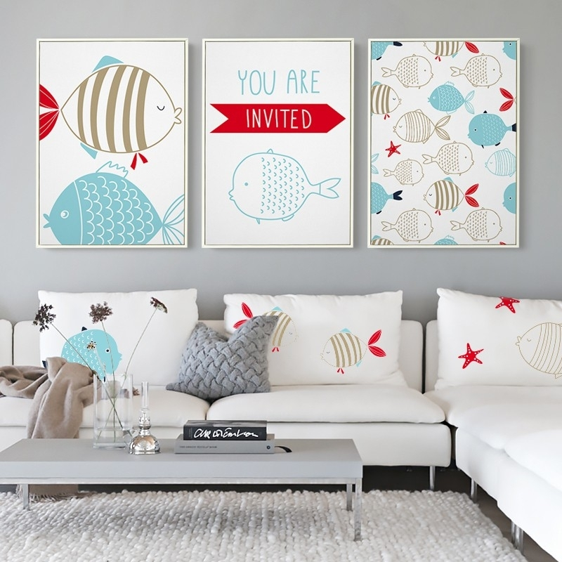 New Modern Nordic Cartoon Navigation Fish Print Nursery Wall Art Pertaining To Modern Nursery Canvas Wall Art (View 6 of 15)