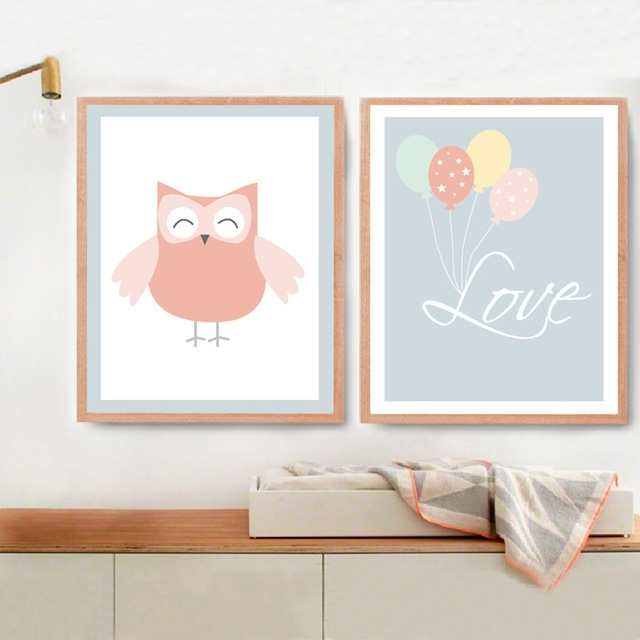 New Owl Love Balloon Canvas Painting Nursery Wall Art Little Room Throughout Modern Nursery Canvas Wall Art (Image 11 of 15)
