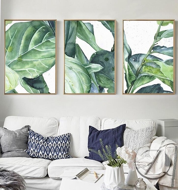 New Summer Green Leaves Wall Art Set Canvas Art Palm Tree Leaves Pertaining To Leaves Canvas Wall Art (View 7 of 15)
