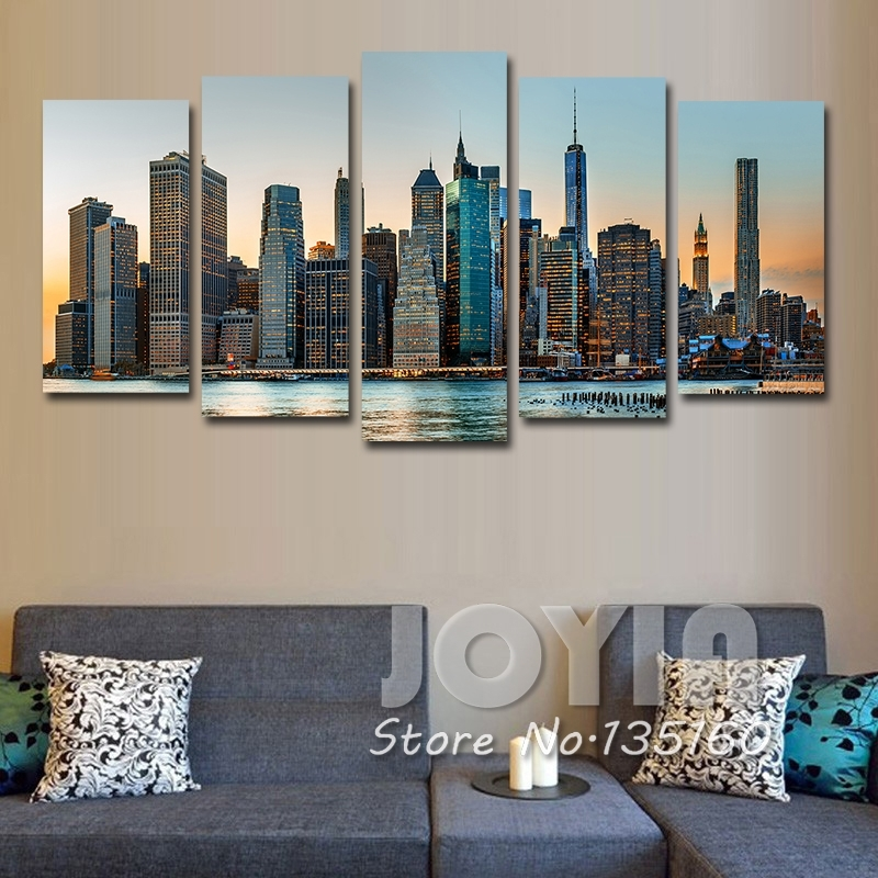 New York City Night Landscape Painting Modern Wall Decor Pictures With Regard To Canvas Wall Art Of New York City (Image 4 of 15)