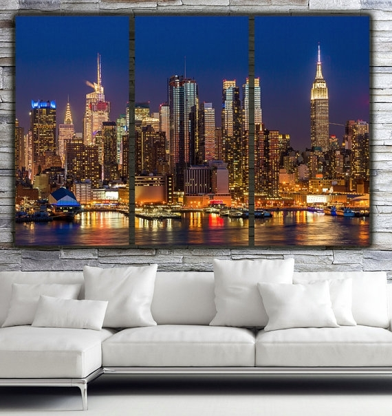 New York City Skyline Brilliant Night New York Canvas Art In Canvas Wall Art Of New York City (Image 5 of 15)