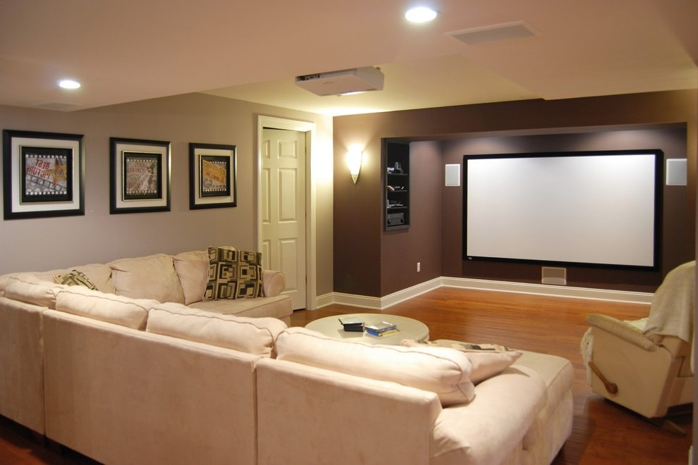 New York Media Room Paint Basement Traditional With Accent Wall Regarding Wall Accents For Media Room (Image 10 of 15)