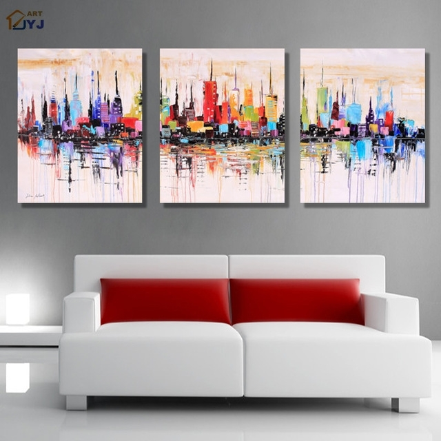 New York Modular Picture Art Hand Painted Palette Knife Abstract For Oil Paintings Canvas Wall Art (View 10 of 15)