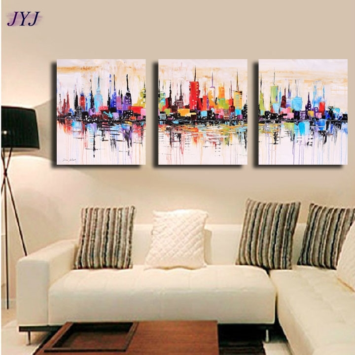 New York Modular Picture Art Hand Painted Palette Knife Abstract Throughout Abstract Canvas Wall Art Iii (View 5 of 15)