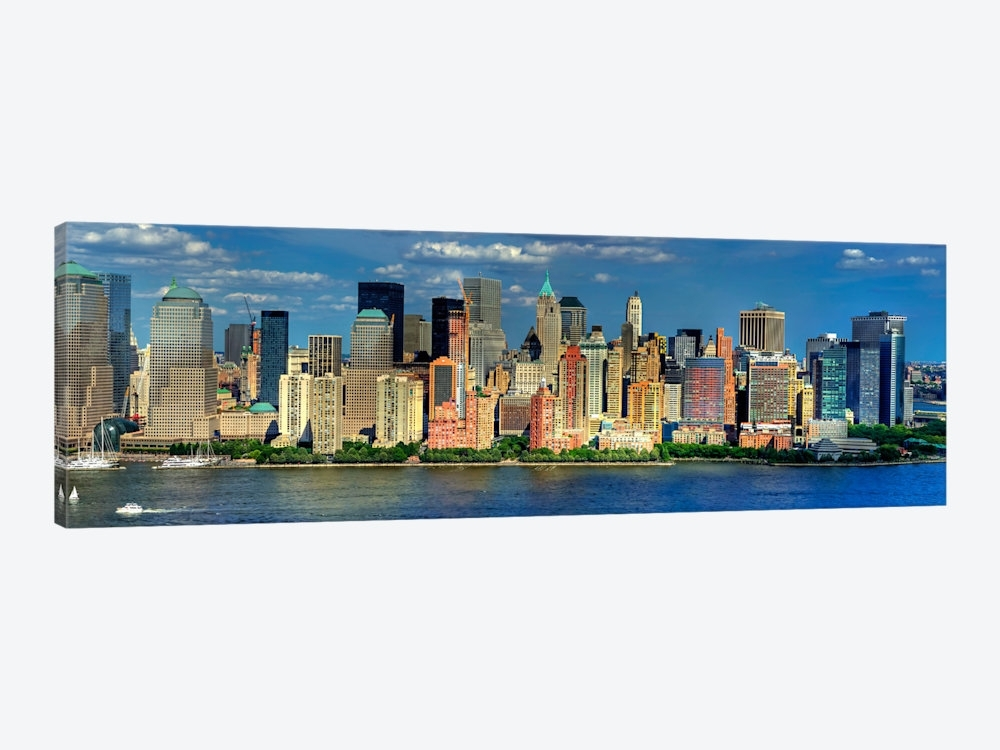 New York Panoramic Skyline Cityscape (Manhattan) Canvas Wall Art Pertaining To Panoramic Canvas Wall Art (View 13 of 15)