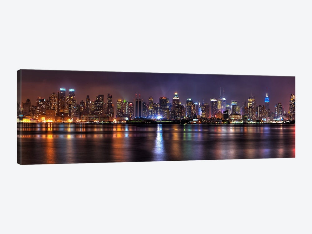 New York Panoramic Skyline Cityscape (Night) Art Print | Icanvas Inside Panoramic Canvas Wall Art (Image 8 of 15)