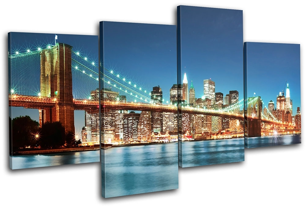 New York Skyline Bridge City Multi Canvas Wall Art Picture Print Intended For Canvas Wall Art Of New York City (Image 9 of 15)