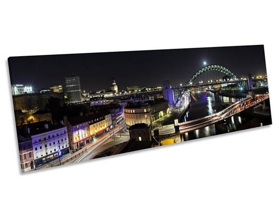 Newcastle Tyne Bridge Quayside Canvas Wall Art Panoramic Intended For Newcastle Canvas Wall Art (View 3 of 15)