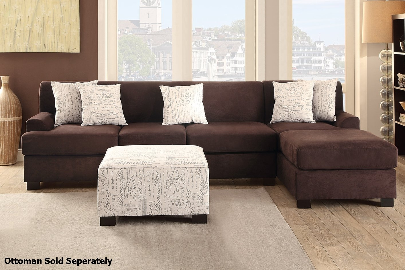 Nia Brown Fabric Sectional Sofa - Steal-A-Sofa Furniture Outlet Los throughout Fabric Sectional Sofas