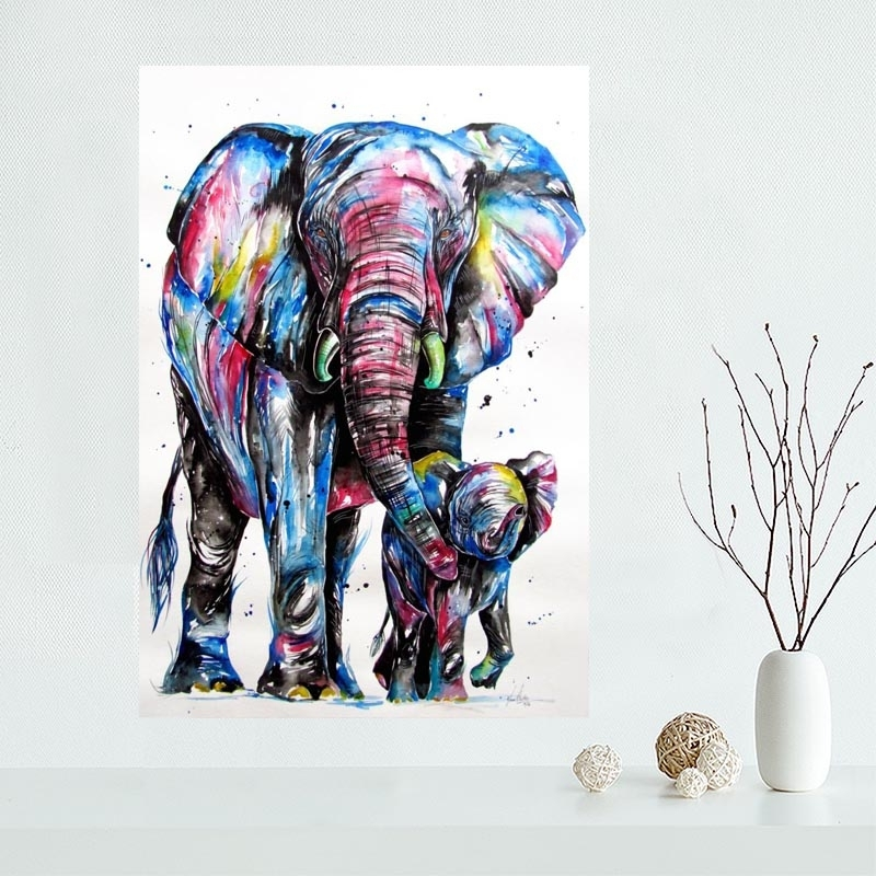 Nice Art Colourful Elephant Poster Custom Canvas Poster Art Home Intended For Elephant Fabric Wall Art (View 5 of 15)