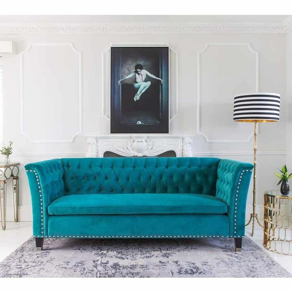 Nightingale Teal Blue Velvet Sofa | Turquoise Sofa, Nightingale And Inside Turquoise Sofas (Image 4 of 10)