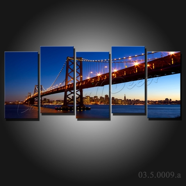 No Frame 5 Pieces Canvas Painting San Francisco Golden Gate Bridge For Golden Gate Bridge Canvas Wall Art (View 2 of 15)