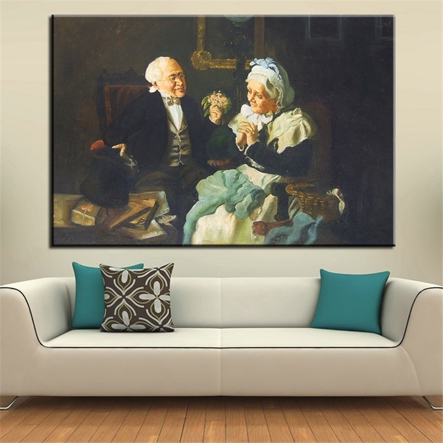 No Frame Home Printed Two Old Couple Portrait Oil Painting Canvas Throughout Portrait Canvas Wall Art (Image 10 of 15)