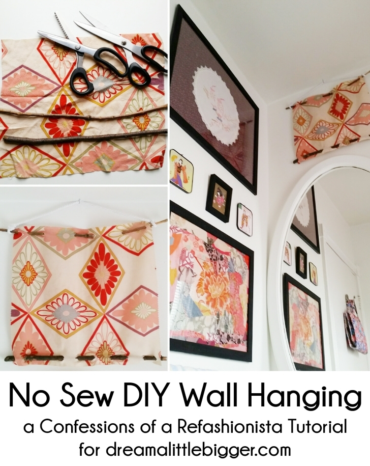 No Sew Diy Wall Hangingconfessions Of A Refashionista Pertaining To No Sew Fabric Wall Art (View 4 of 15)