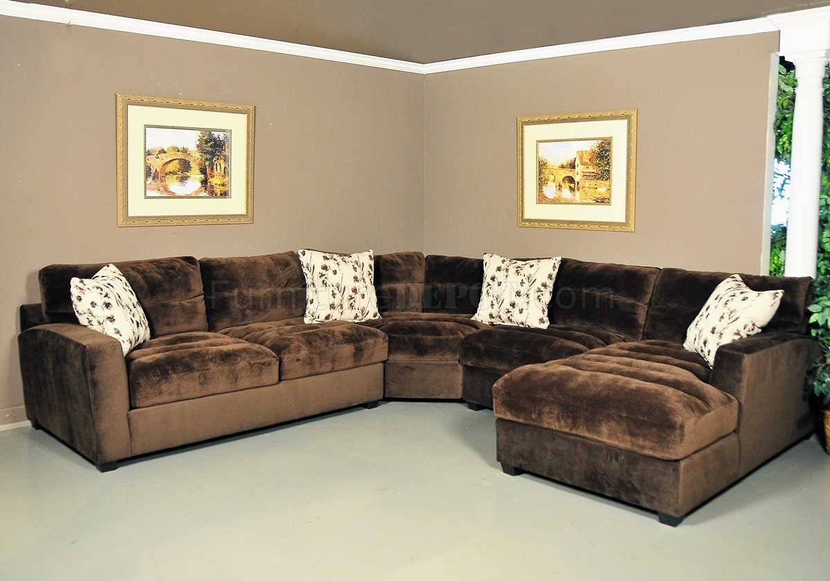 Nobel Chocolate Fabric Modern 4Pc Sectional Sofa regarding Chocolate Sectional Sofas