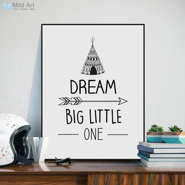 Nordic Black White Inspirational Quotes Dream Poster A4 Modern Pertaining To Modern Nursery Canvas Wall Art (Image 13 of 15)