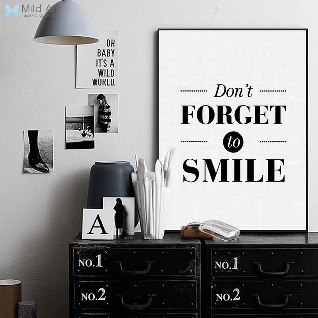 Nordic Black White Motivational Quotes Poster Print A4 Big For Large Canvas Wall Art Quotes (View 7 of 15)