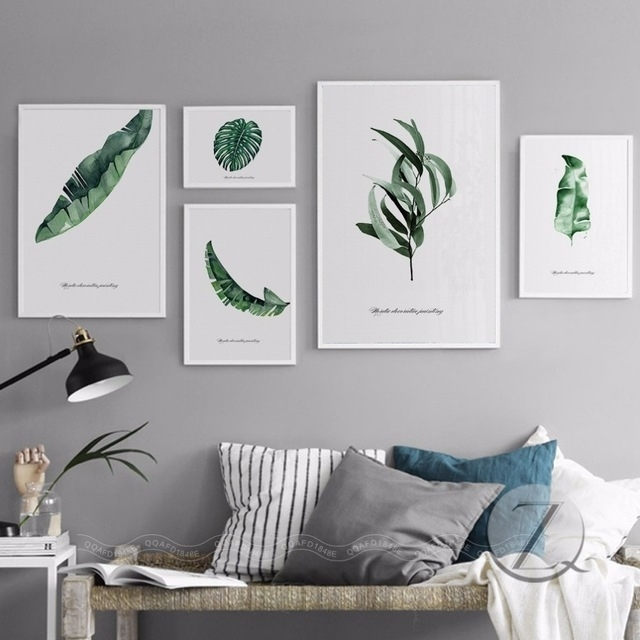 Nordic Home Decoration Abstract Leaf Wall Art Plant Wall Pictures Inside Abstract Leaves Wall Art (Image 11 of 15)