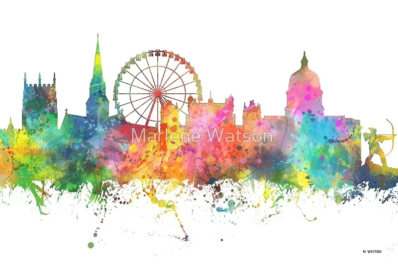 "Nottingham England Skyline"" Canvas Printsmarlene Watson Intended For Nottingham Canvas Wall Art (View 8 of 15)"