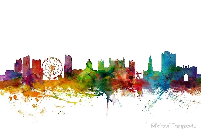 "Nottingham England Skyline"" Canvas Printsmichael Tompsett Regarding Nottingham Canvas Wall Art (View 4 of 15)"