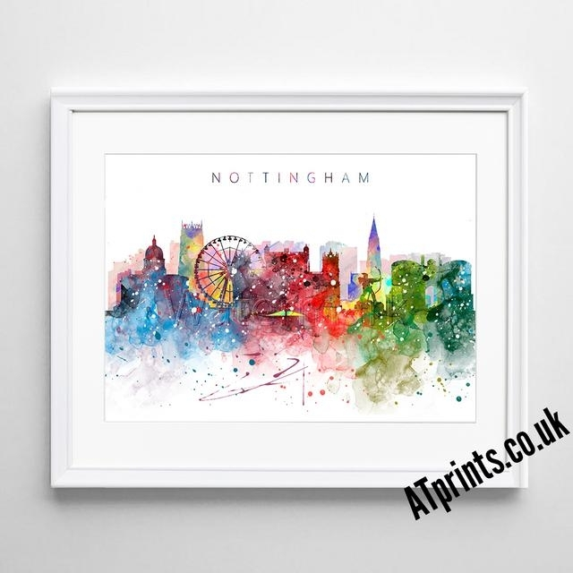 Nottingham Skyline Map Print Poster Watercolour Framed Canvas Wall Regarding Nottingham Canvas Wall Art (View 3 of 15)