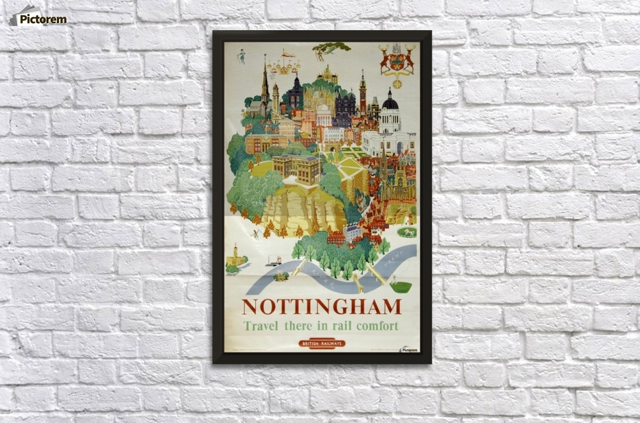 Nottingham Vintage Travel Poster For British Railways – Vintage Within Nottingham Canvas Wall Art (View 11 of 15)
