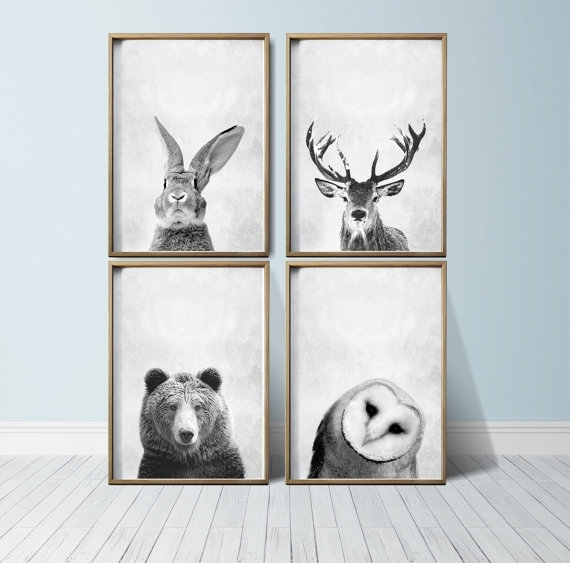 Nursery Art Nursery Decor Woodland Nursery Animal Art Art With Regard To Framed Animal Art Prints (View 4 of 15)