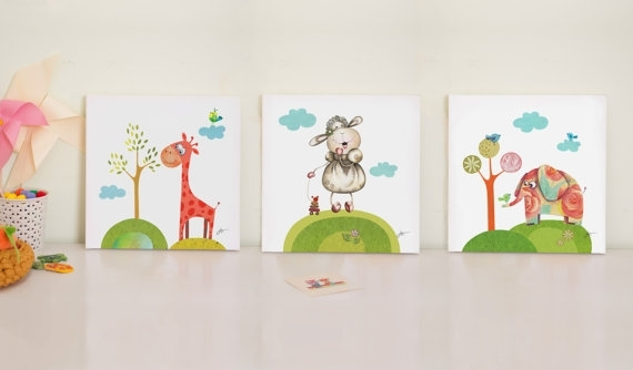 Nursery Print Set, Baby Room Prints, Nursery Canvas Art, Canvas With Baby Room Canvas Wall Art (Image 10 of 15)