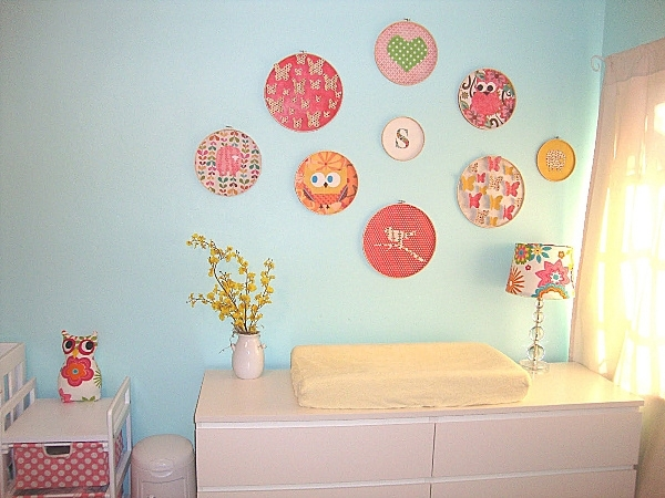 Nursery Room Decor With Clever Wall Art With Embroidery Grouping Pertaining To Nursery Decor Fabric Wall Art (View 8 of 15)