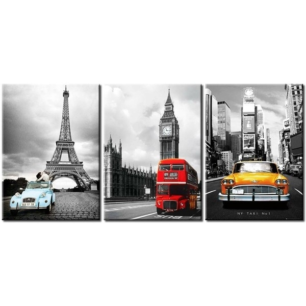 Nyc And Paris Eiffel Tower Big Ben Car London Double Decker Red In London Canvas Wall Art (Image 11 of 15)