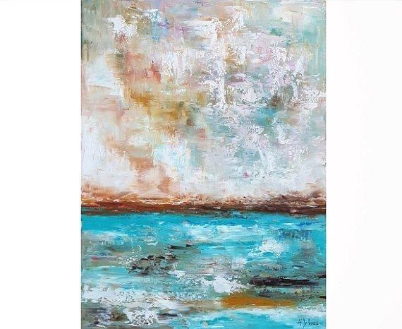 Ocean Art Oil Painting Ocean Painting Abstract Ocean Vertical Within Abstract Ocean Wall Art (Image 9 of 15)