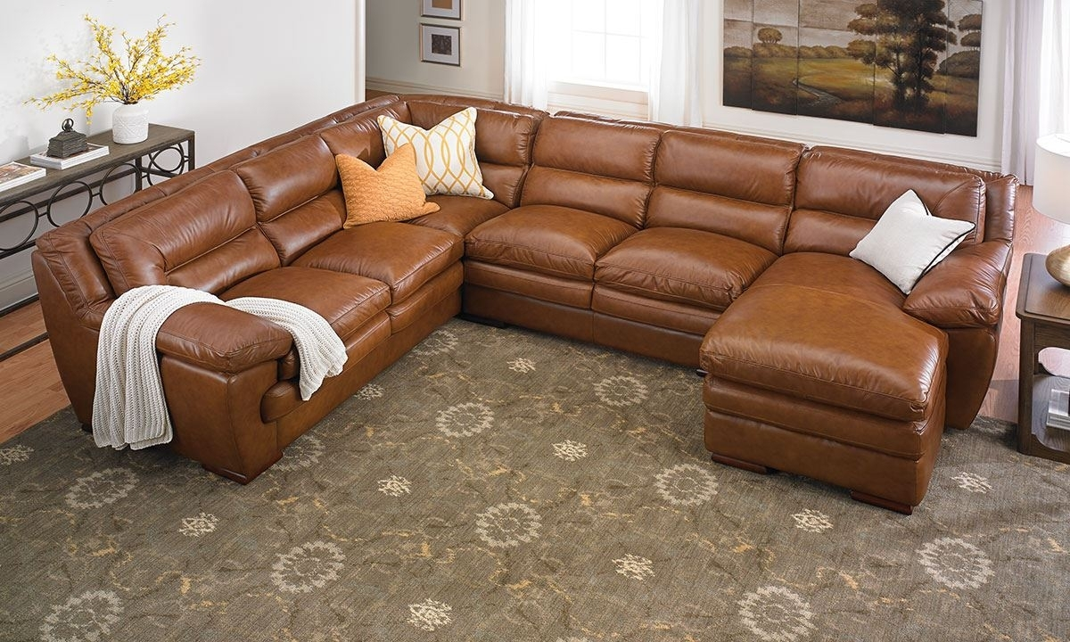 Odyssey Leather Pillowtop Sectional With Chaise | The Dump Luxe regarding Leather Sectional Sofas