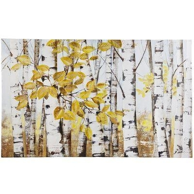 Of Birch Trees Yellow And White Art With Birch Trees Canvas Wall Art (View 2 of 15)
