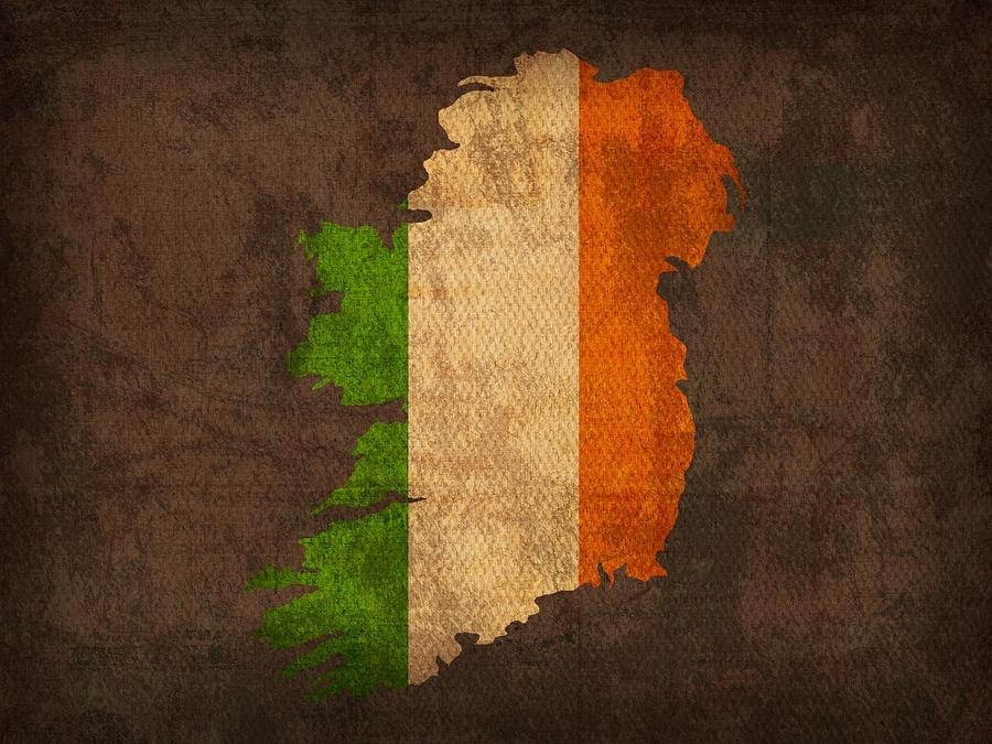 Of Ireland With Flag Art On Distressed Worn Canvas Mixed Media With Ireland Canvas Wall Art (Image 10 of 15)