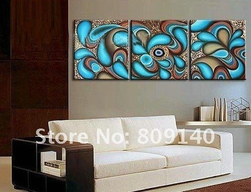 Oil Painting Canvas Blue Abstract Wonderland Kid Bedroom Inside Abstract Office Wall Art (View 10 of 15)