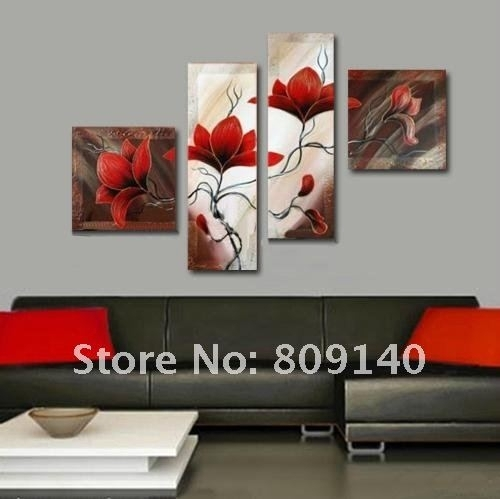 Oil Painting Canvas Red Flower Abstract Decorative Artwork Hand For Red Flowers Canvas Wall Art (View 3 of 15)