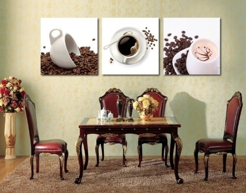 Oil Painting Modern Art Large Canvas Wall Art 3 Piece Canvas Art Throughout Coffee Canvas Wall Art (Image 11 of 15)