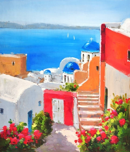 Oil Painting On Canvas Mediterranean Santorini Greece Seascape Pertaining To Greece Canvas Wall Art (View 14 of 15)