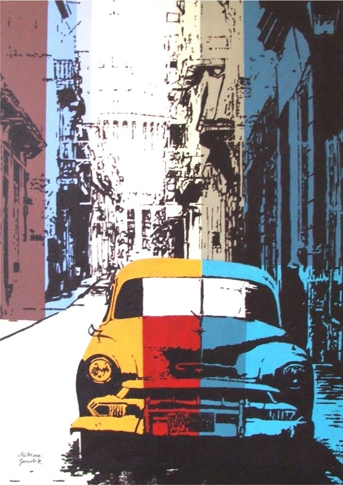 Old Car Street Architecture Cuba Pop Art Acrylic Original Painting In Cars Theme Canvas Wall Art (Image 10 of 16)