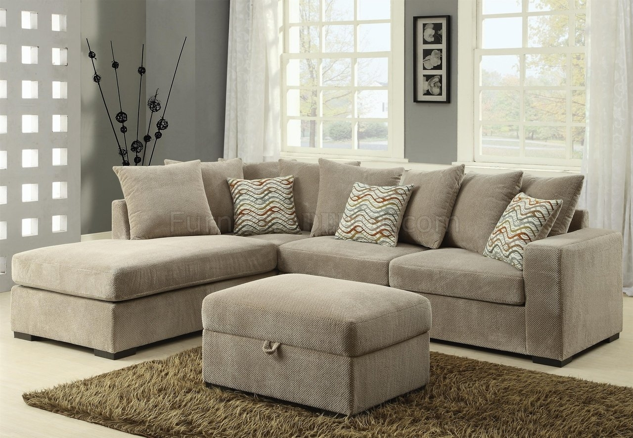Olson Sectional Sofa 500044 In Taupe Fabriccoaster inside Michigan Sectional Sofas