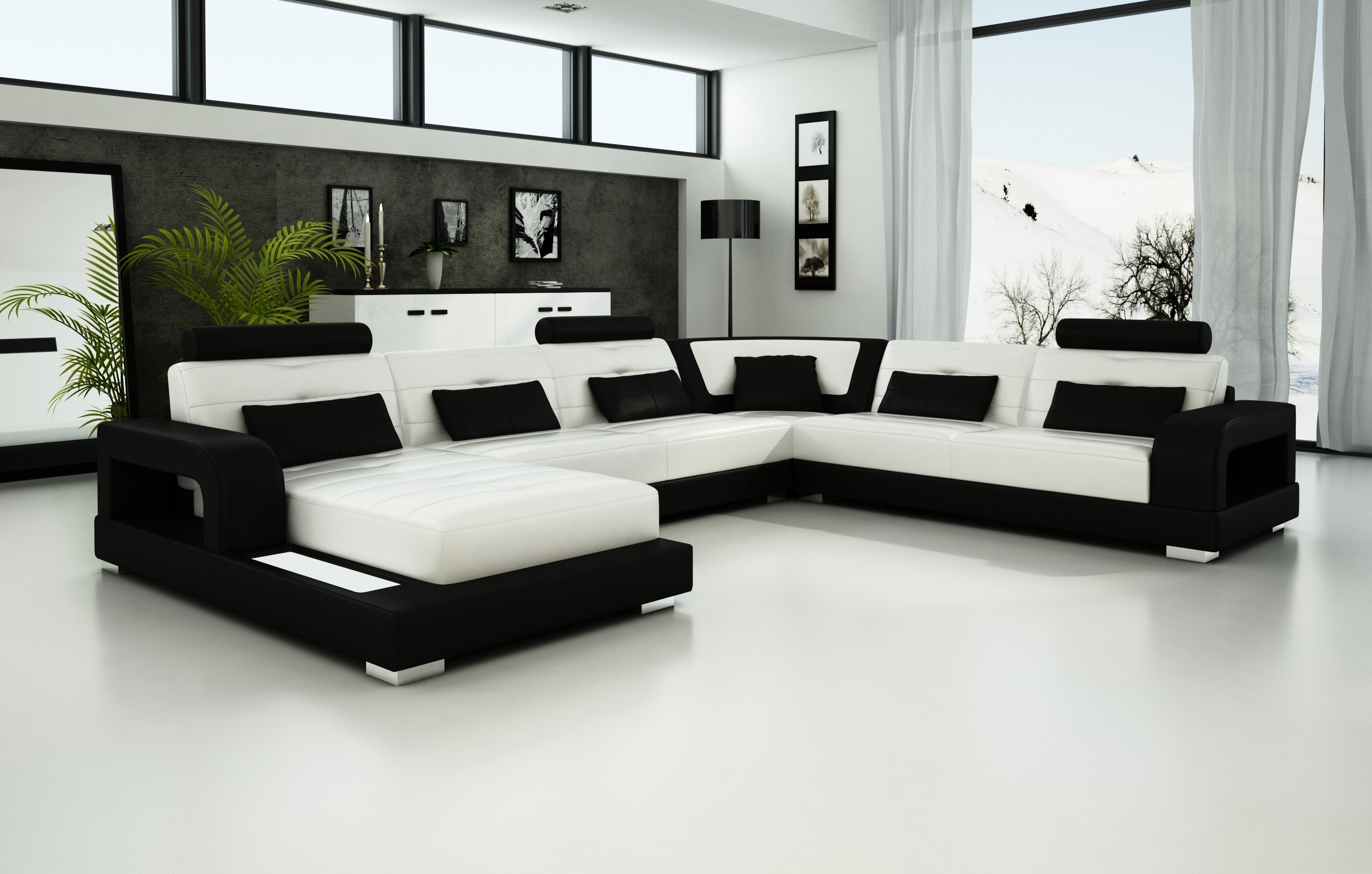Olympian Sofas Pesaro White-Black Leather Sofa - Sectional Sofas pertaining to Trinidad And Tobago Sectional Sofas