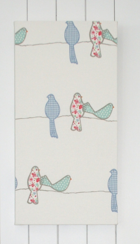 On Sale Childrens Bird Fabric Wall Art Nurserymadeinfabric With Regard To Childrens Fabric Wall Art (Image 14 of 15)