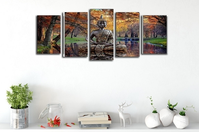 On Sales Canvas Prints Wall Decor 5 Panel Autumn Landscape Art Pertaining To Portrait Canvas Wall Art (View 14 of 15)