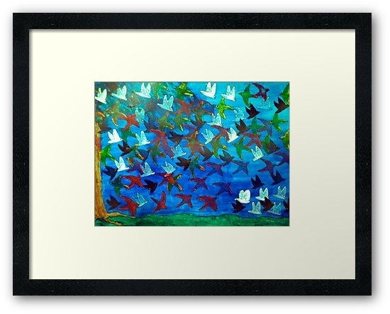 """One Hundred Birds"""" Framed Printstriciacurry   Redbubble Within Birds Framed Art Prints (Image 13 of 15)"""
