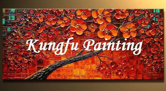 Online Cheap Handmade Palette Knife Red Tree Painting Living Room In Fabric Painting Wall Art (Image 10 of 15)