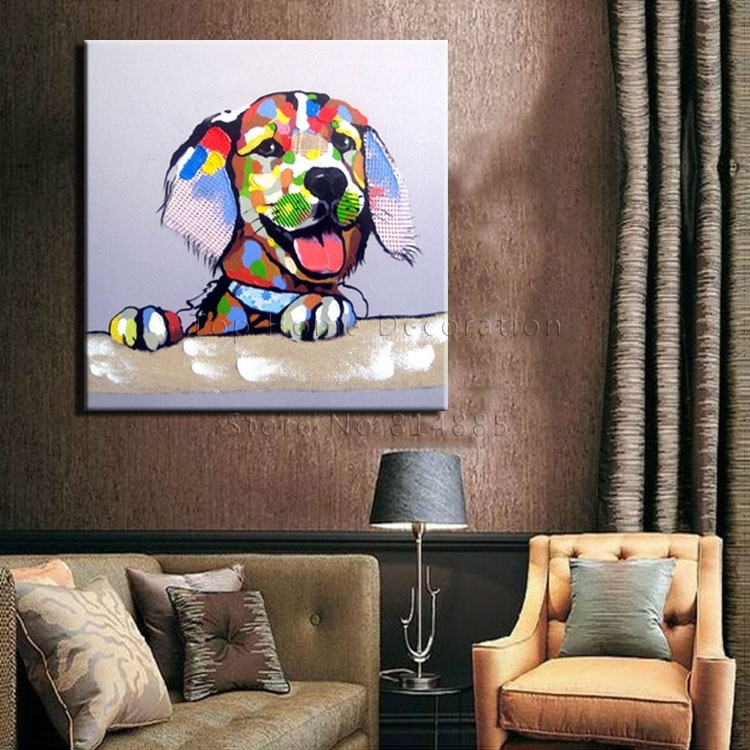 Online Get Cheap Textured Oil Paintings  Aliexpress | Alibaba With Dogs Canvas Wall Art (Image 13 of 15)