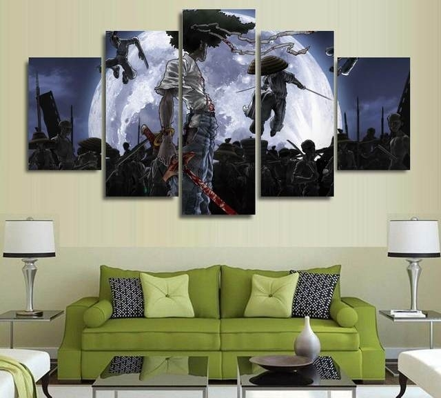 Online Shop 5 Panels Anime Canvas Print Painting Modern Afro Regarding Anime Canvas Wall Art (View 15 of 15)