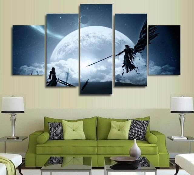 Online Shop Atfipan Wall Pictures For Living Room Final Fantasy 7 Throughout Anime Canvas Wall Art (View 10 of 15)