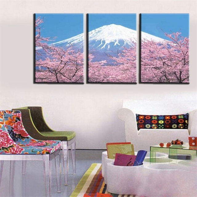 Online Shop Modern 3 Panel Japanese Mount Canvas Wall Art For In Japanese Canvas Wall Art (View 8 of 15)